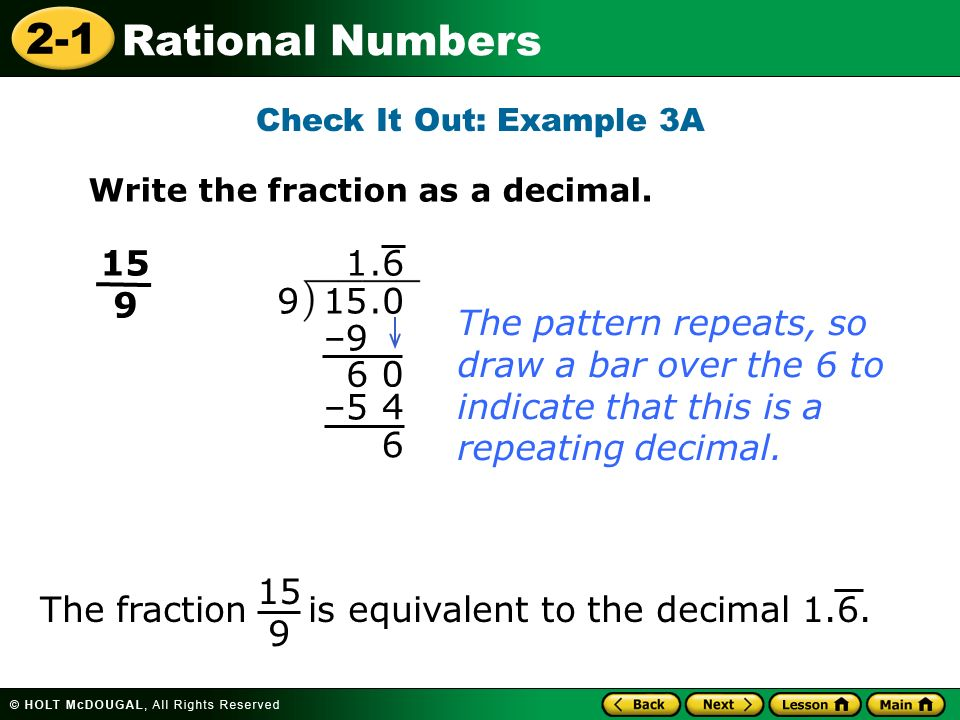 The fraction is equivalent to the decimal