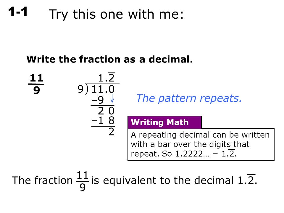 Write each decimal as a fraction in simplest form. – 3. – ppt ...