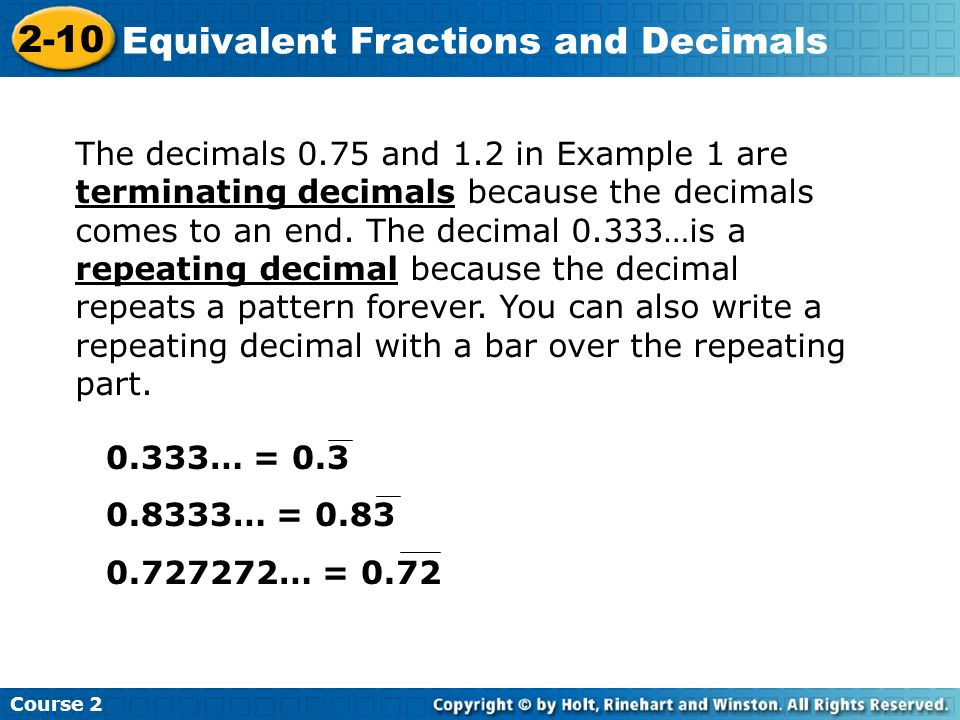 Fractions and Decimals ppt download – Terminating and Repeating Decimals Worksheet