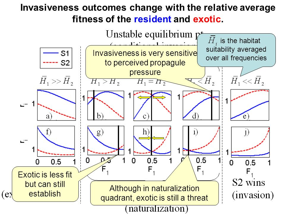 Invasiveness outcomes change with the relative average fitness of the resident and exotic.