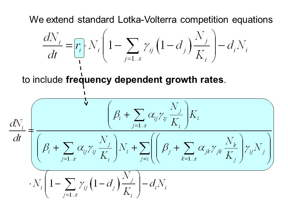 We extend standard Lotka-Volterra competition equations