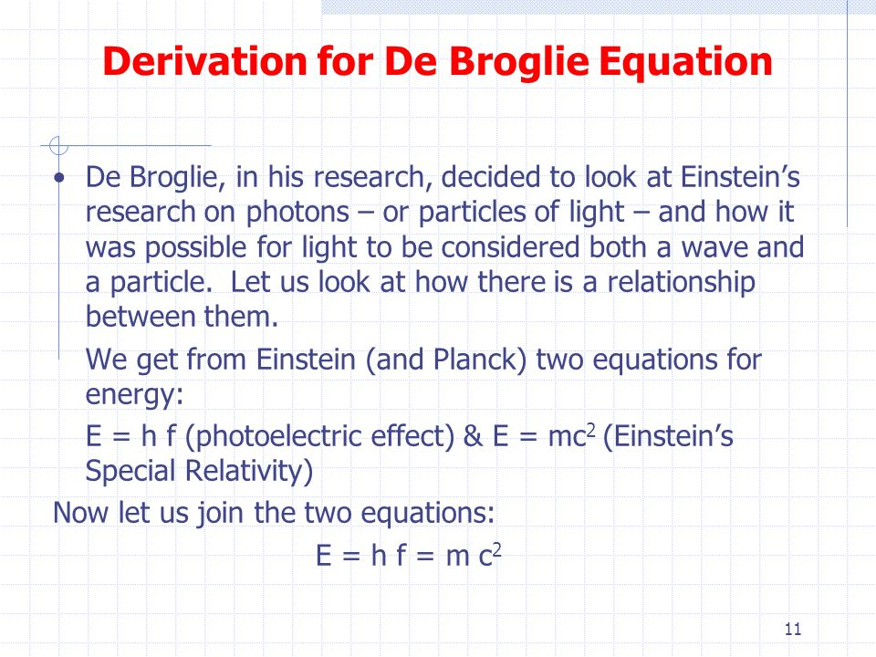 de broglie relationship derivation of the quadratic formula