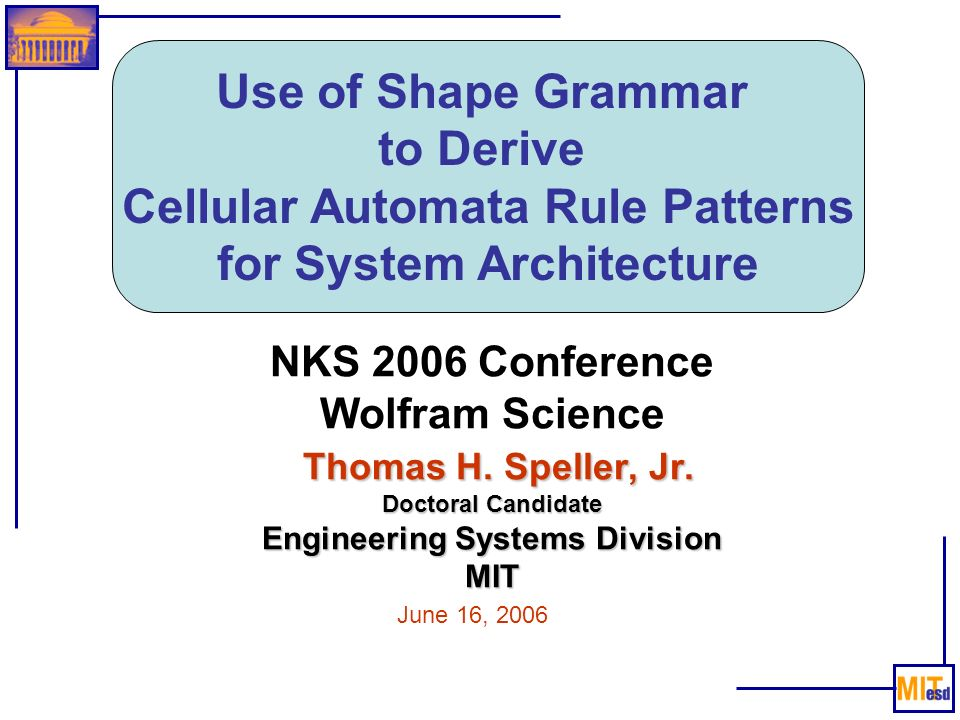Cellular Automata Rule Patterns for System Architecture