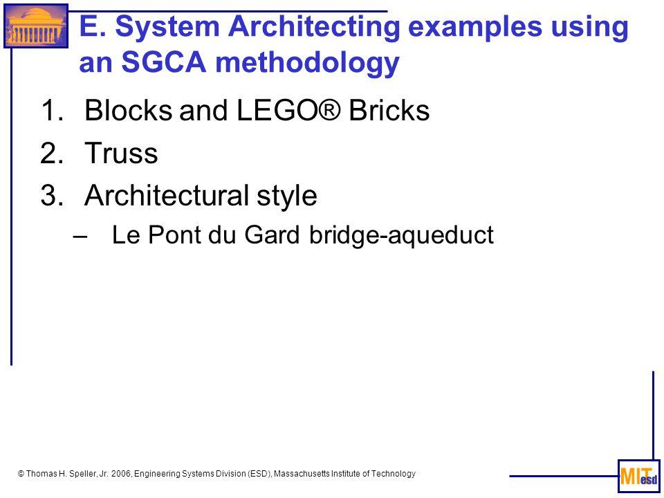 E. System Architecting examples using an SGCA methodology