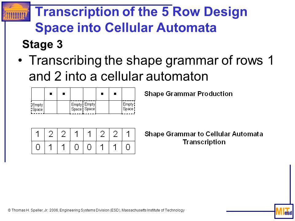 Transcription of the 5 Row Design Space into Cellular Automata