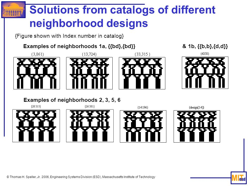 Solutions from catalogs of different neighborhood designs