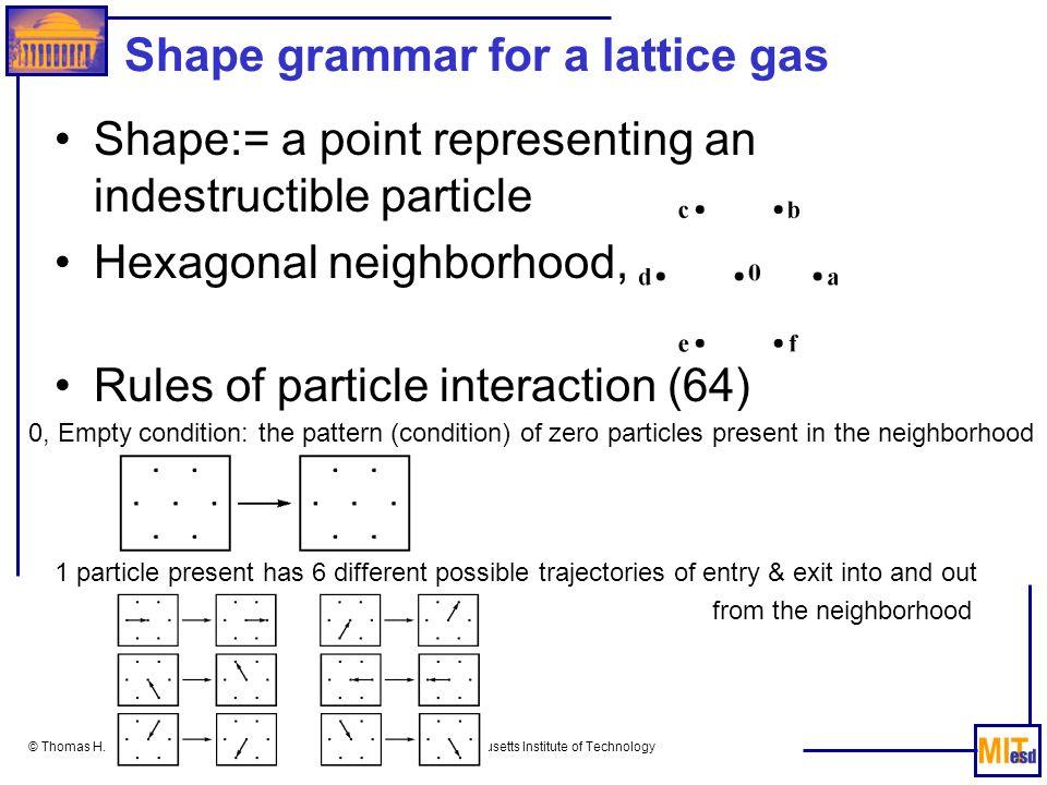 Shape grammar for a lattice gas
