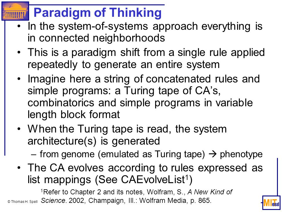 Paradigm of Thinking In the system-of-systems approach everything is in connected neighborhoods.