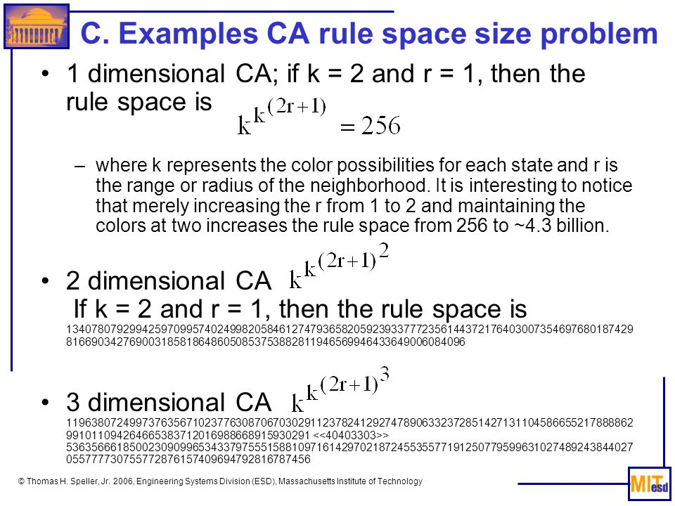 C. Examples CA rule space size problem