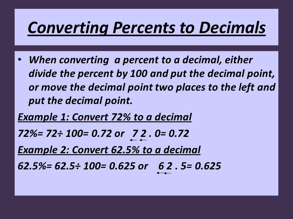 Converting Percents to Decimals