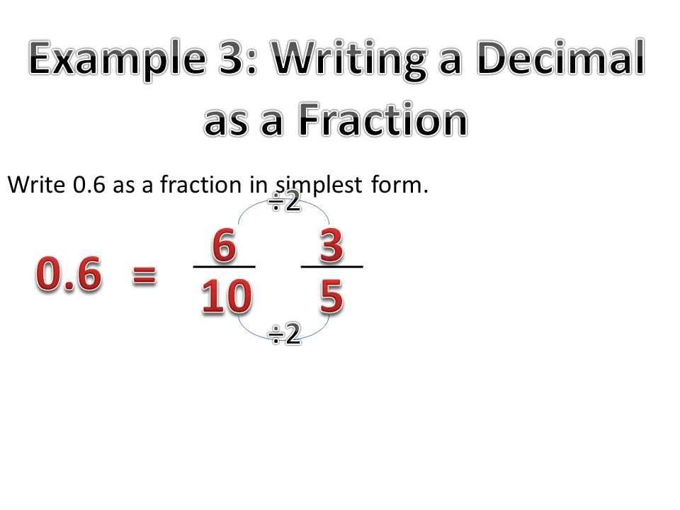 how to change a fraction to a decimal number