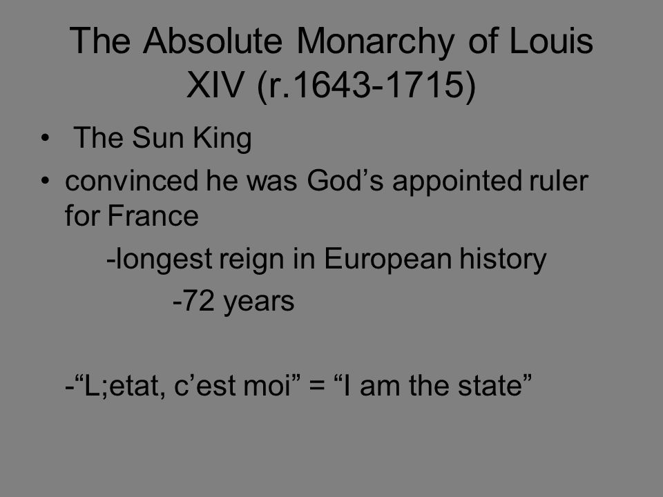 why louis xiv didnt appoint a Louis xiv built on louis xiii's policy of extending absolute royal rule (centralised absolutism) to all parts of the kingdom louis was the archetypal absolutist monarch louis was the archetypal absolutist monarch.