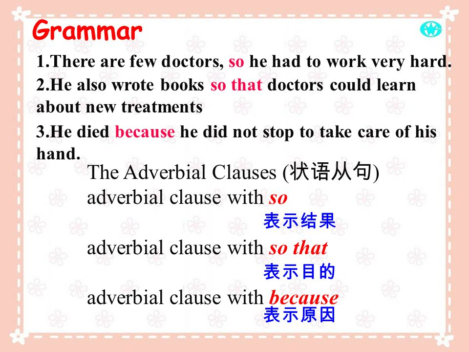 Grammar The Adverbial Clauses (状语从句) adverbial clause with so