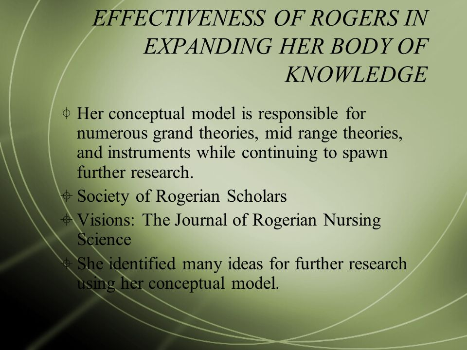 the body of knowledge in nursing Concepts and theories guiding professional practice seeks experiences to advance one's skills and knowledge base focus on the mind and body connection.