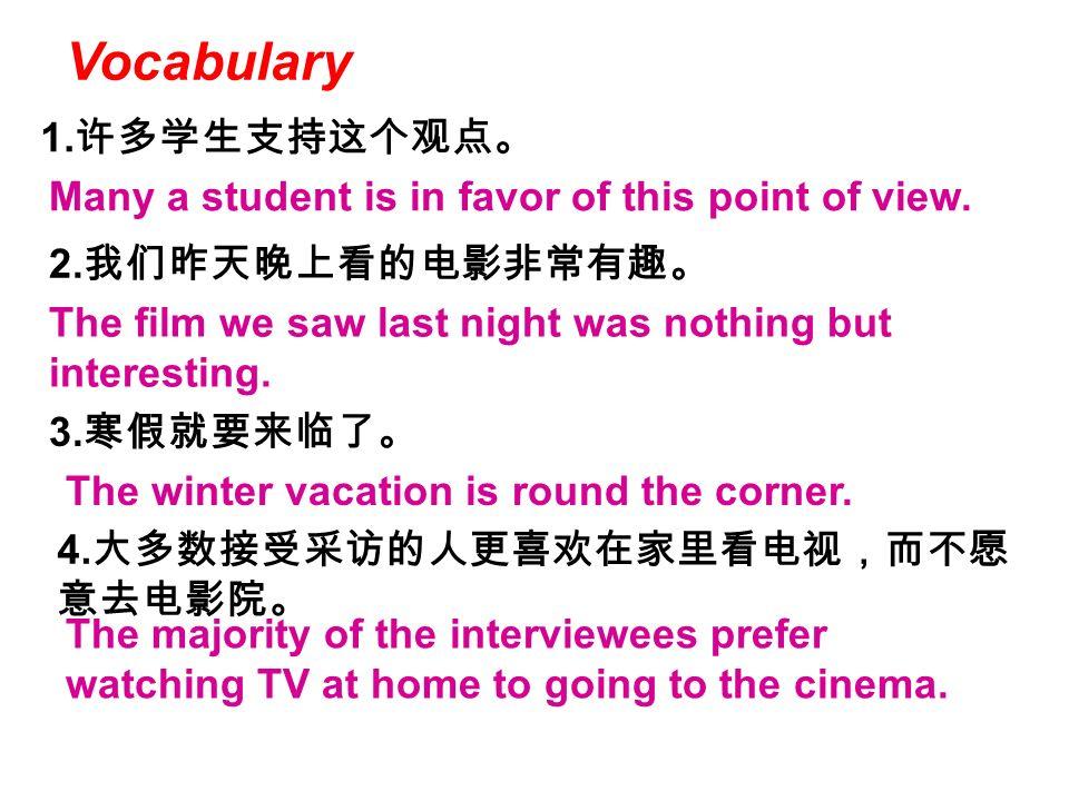 Vocabulary 1.许多学生支持这个观点。