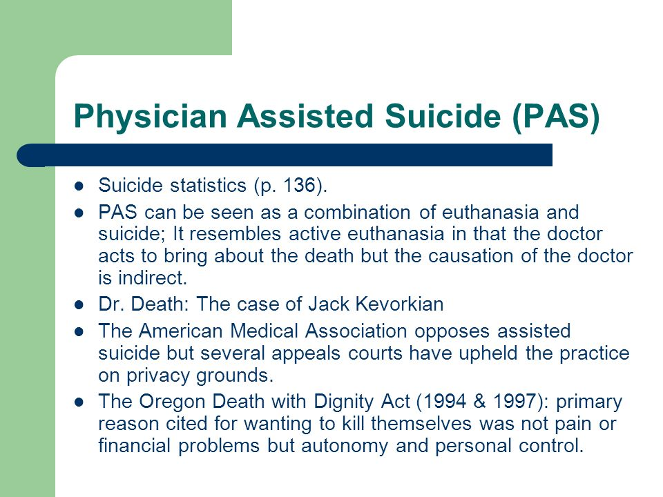 the difference on the concept of euthanasia and physician assisted suicide View on nurses' attitudes towards euthanasia and physician assisted suicide  in  the identified articles, different opinions are expressed about the meaning.