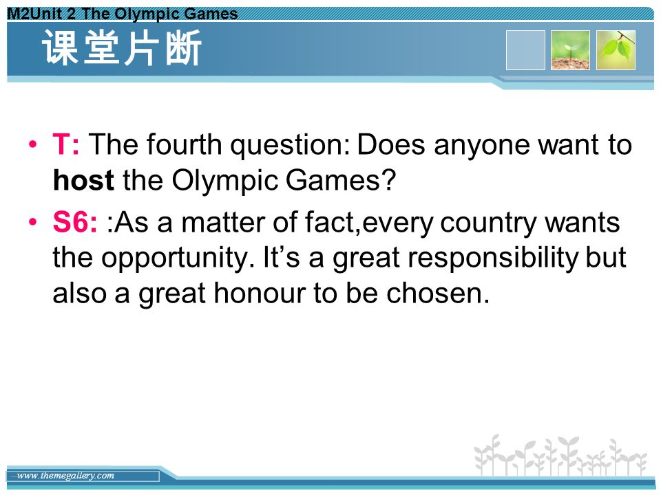 M2Unit 2 The Olympic Games