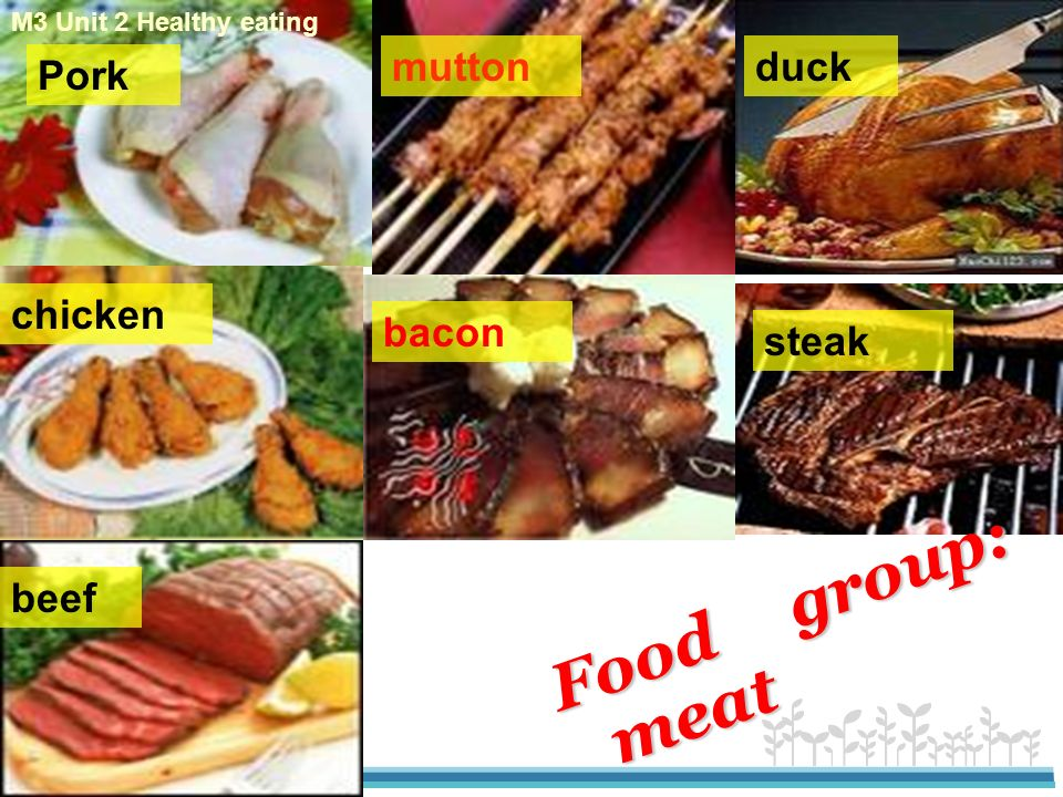 Food group: meat mutton duck Pork chicken bacon steak beef