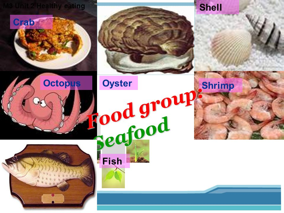 Food group: Seafood lobster Shell Crab Octopus Oyster Shrimp Fish
