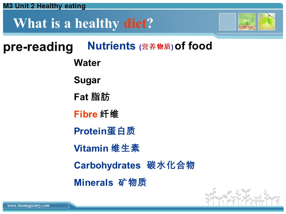 What is a healthy diet pre-reading Nutrients (营养物质) of food Water