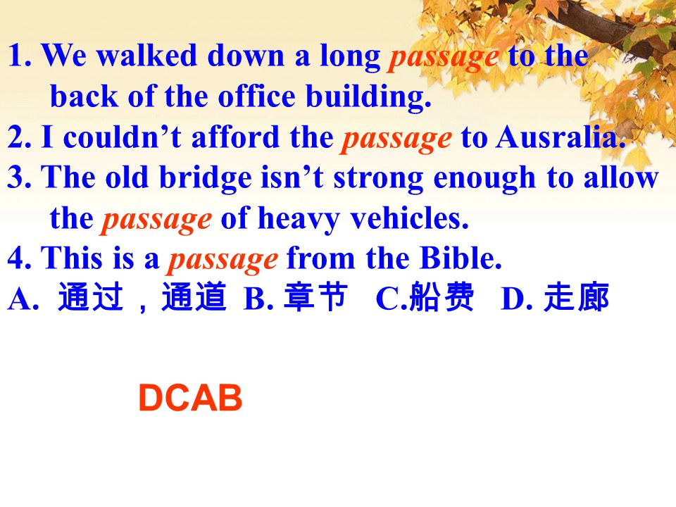 DCAB 1. We walked down a long passage to the