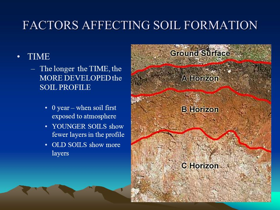 Soil origin and development ppt video online download for Soil forming factors