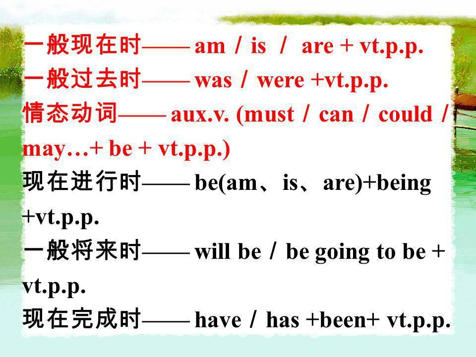 一般现在时—— am/is / are + vt.p.p.