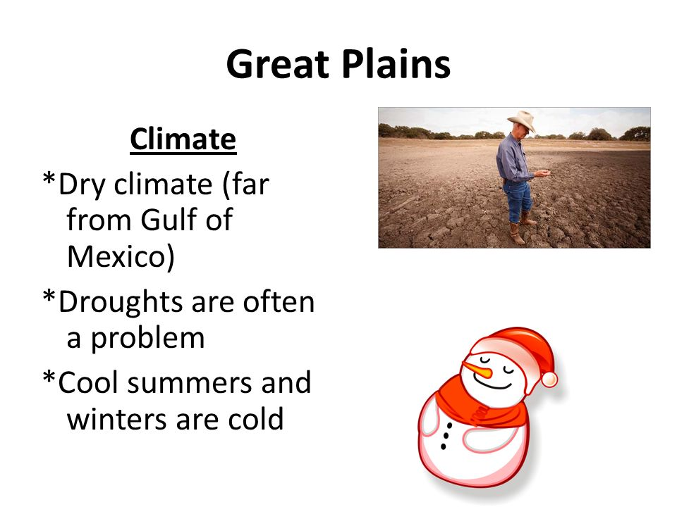 Great Plains Climate *Dry climate (far from Gulf of Mexico) *Droughts are often a problem *Cool summers and winters are cold