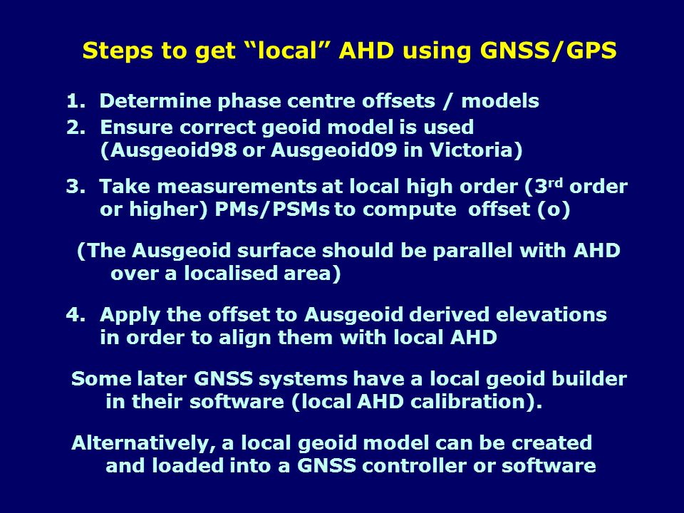 Steps to get local AHD using GNSS/GPS