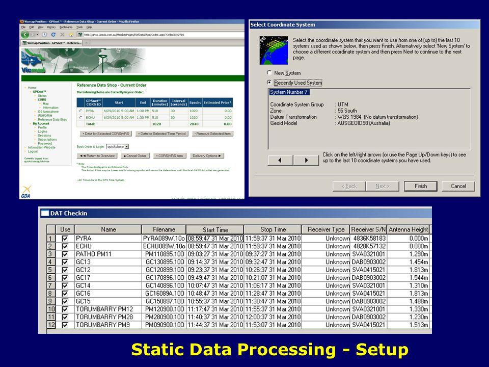 Static Data Processing - Setup