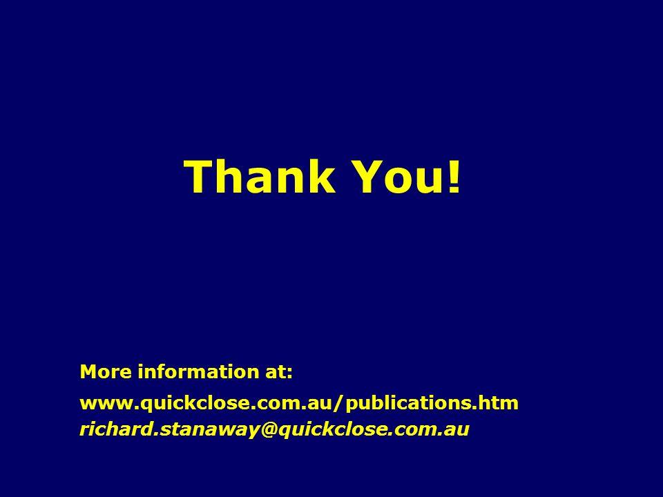Thank You! More information at: www.quickclose.com.au/publications.htm