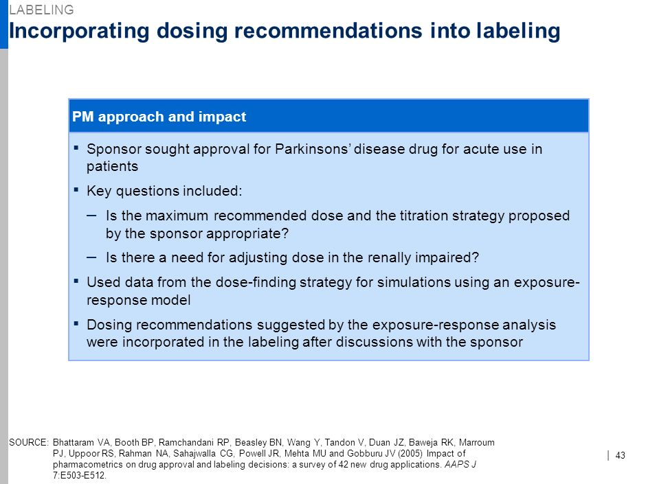 Incorporating dosing recommendations into labeling