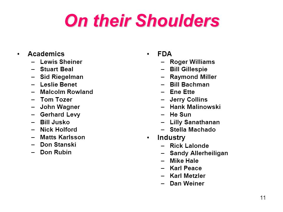 On their Shoulders Academics FDA Industry Lewis Sheiner Stuart Beal
