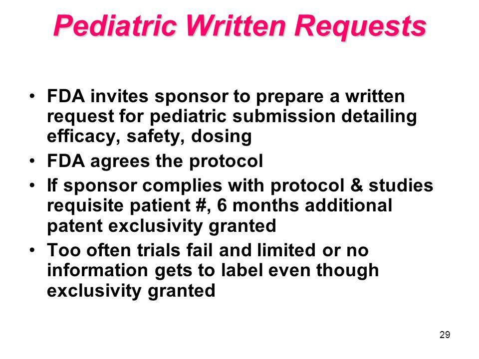 Pediatric Written Requests