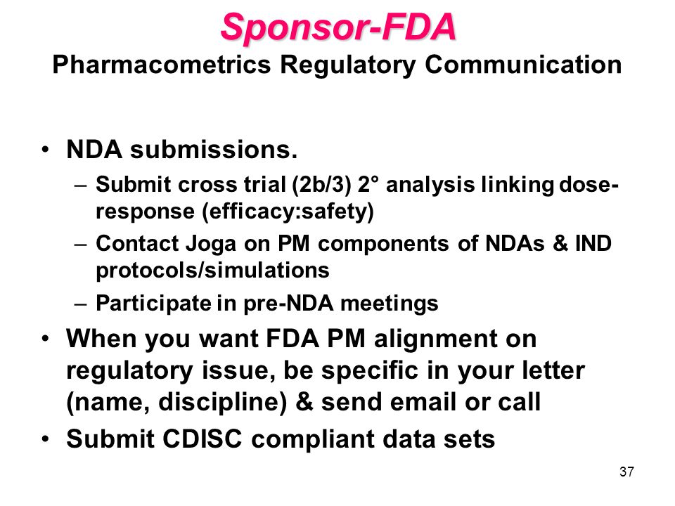 Sponsor-FDA Pharmacometrics Regulatory Communication