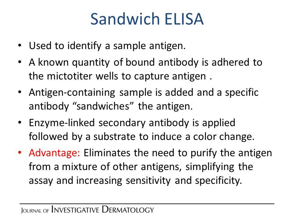 Sandwich ELISA Used to identify a sample antigen.