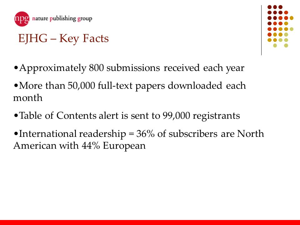 EJHG – Key Facts Approximately 800 submissions received each year