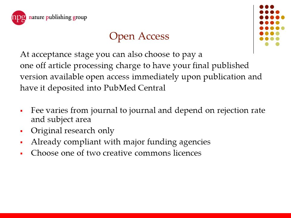 Open Access At acceptance stage you can also choose to pay a