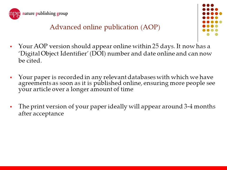 Advanced online publication (AOP)