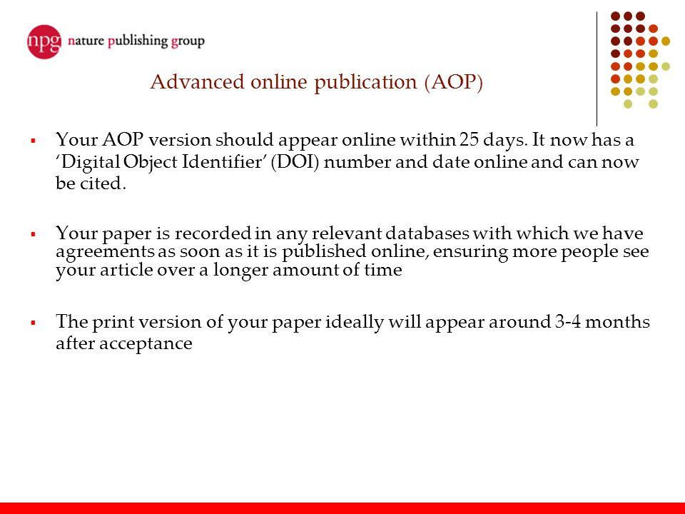 Advanced online publication (AOP)