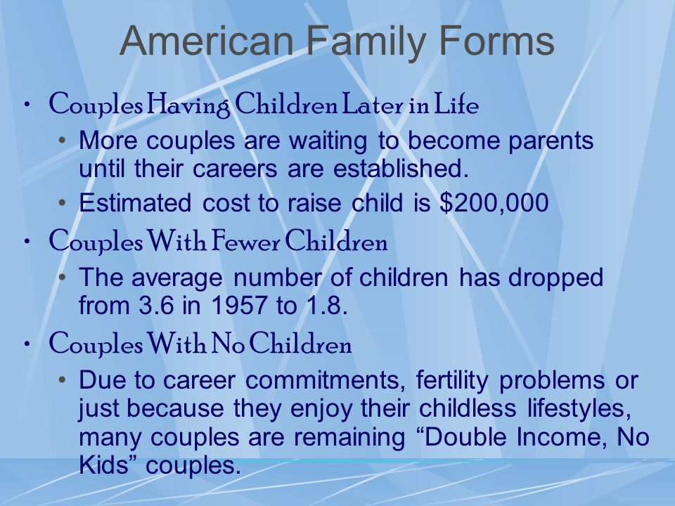 American Family Forms Couples Having Children Later in Life