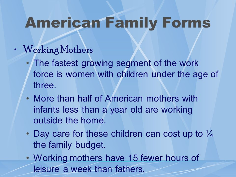 American Family Forms Working Mothers
