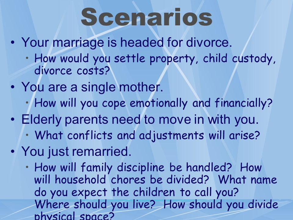 Scenarios Your marriage is headed for divorce.