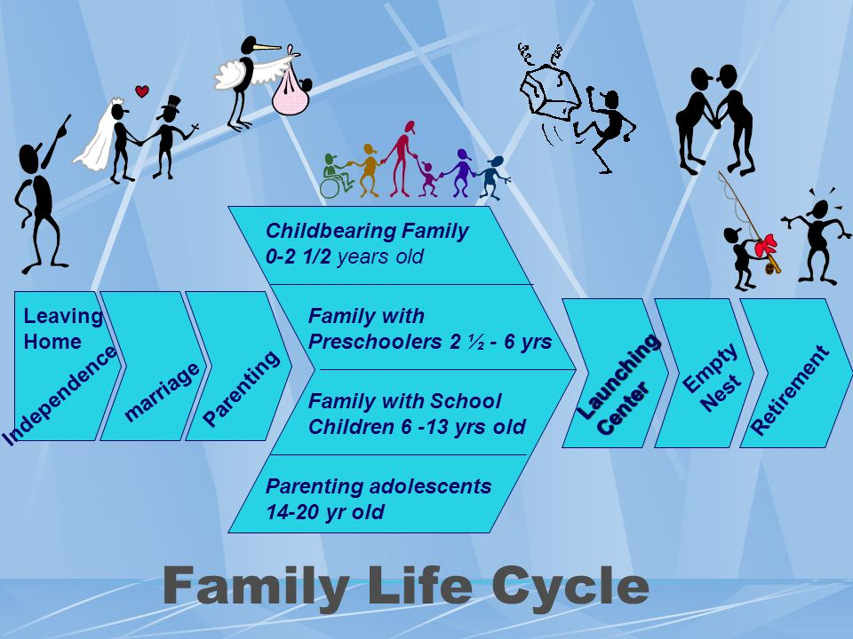 Family Life Cycle Childbearing Family 0-2 1/2 years old Leaving Home