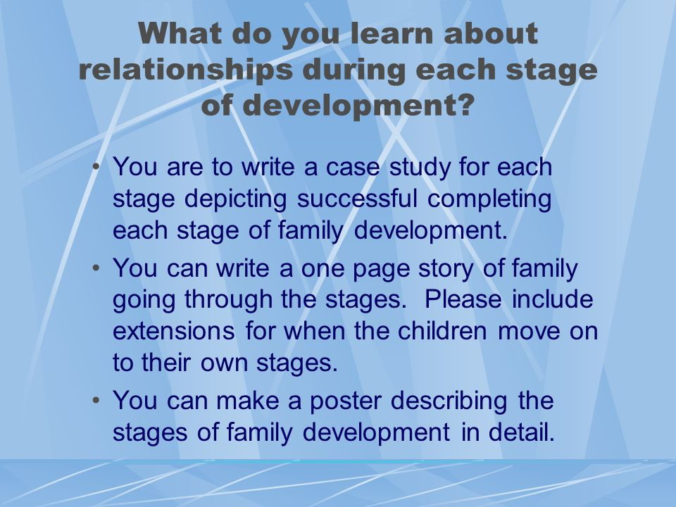 What do you learn about relationships during each stage of development