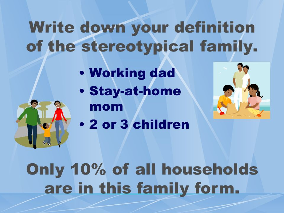 Write down your definition of the stereotypical family.