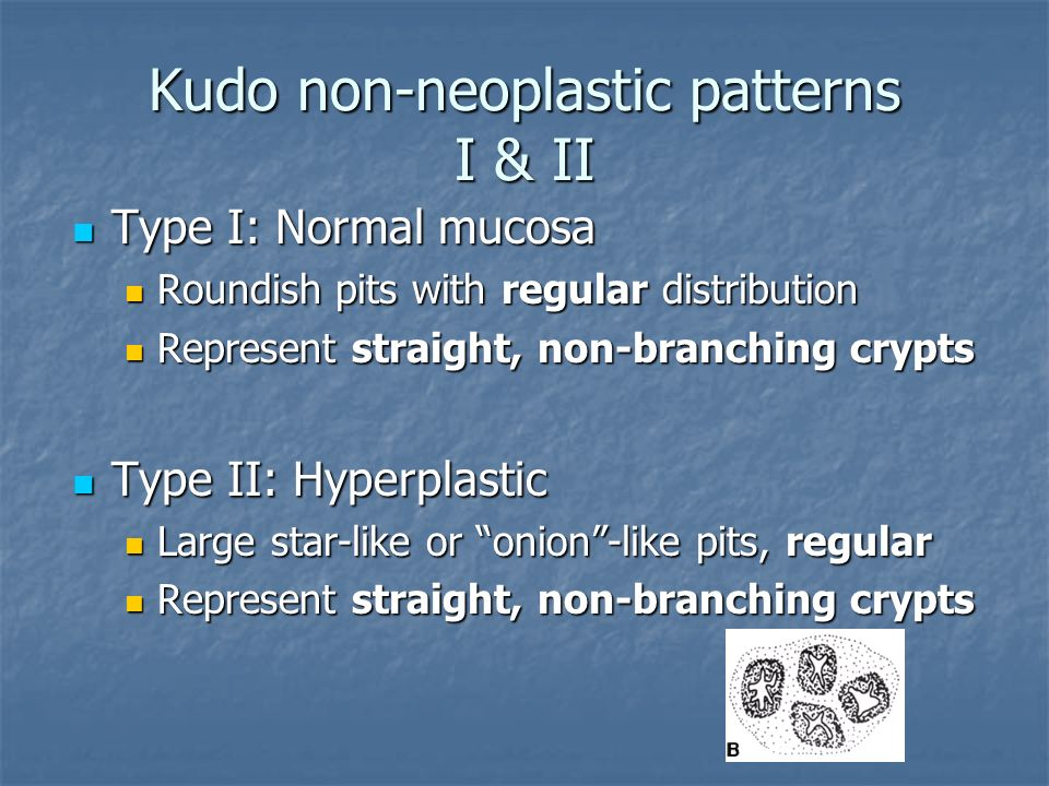Kudo non-neoplastic patterns I & II