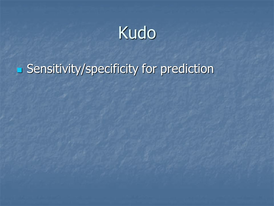 Kudo Sensitivity/specificity for prediction