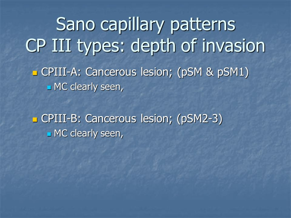 Sano capillary patterns CP III types: depth of invasion