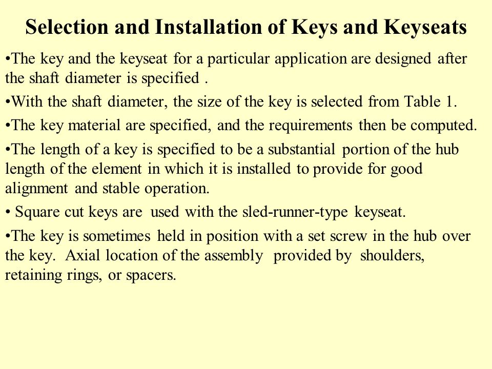 Selection and Installation of Keys and Keyseats